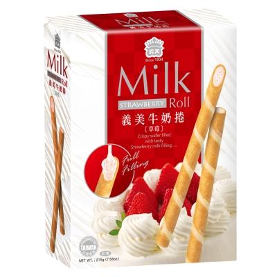 義美 牛奶捲-草莓(215g)