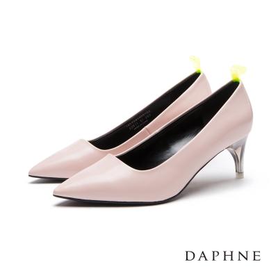 達芙妮DAPHNE 高跟鞋-螢光後拉帶透明鞋跟尖頭鞋-淺粉
