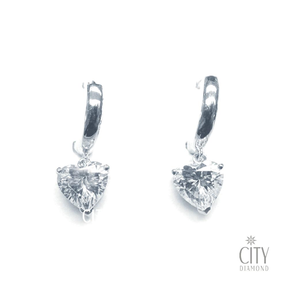 City Diamond『心型斗圈』K金耳環