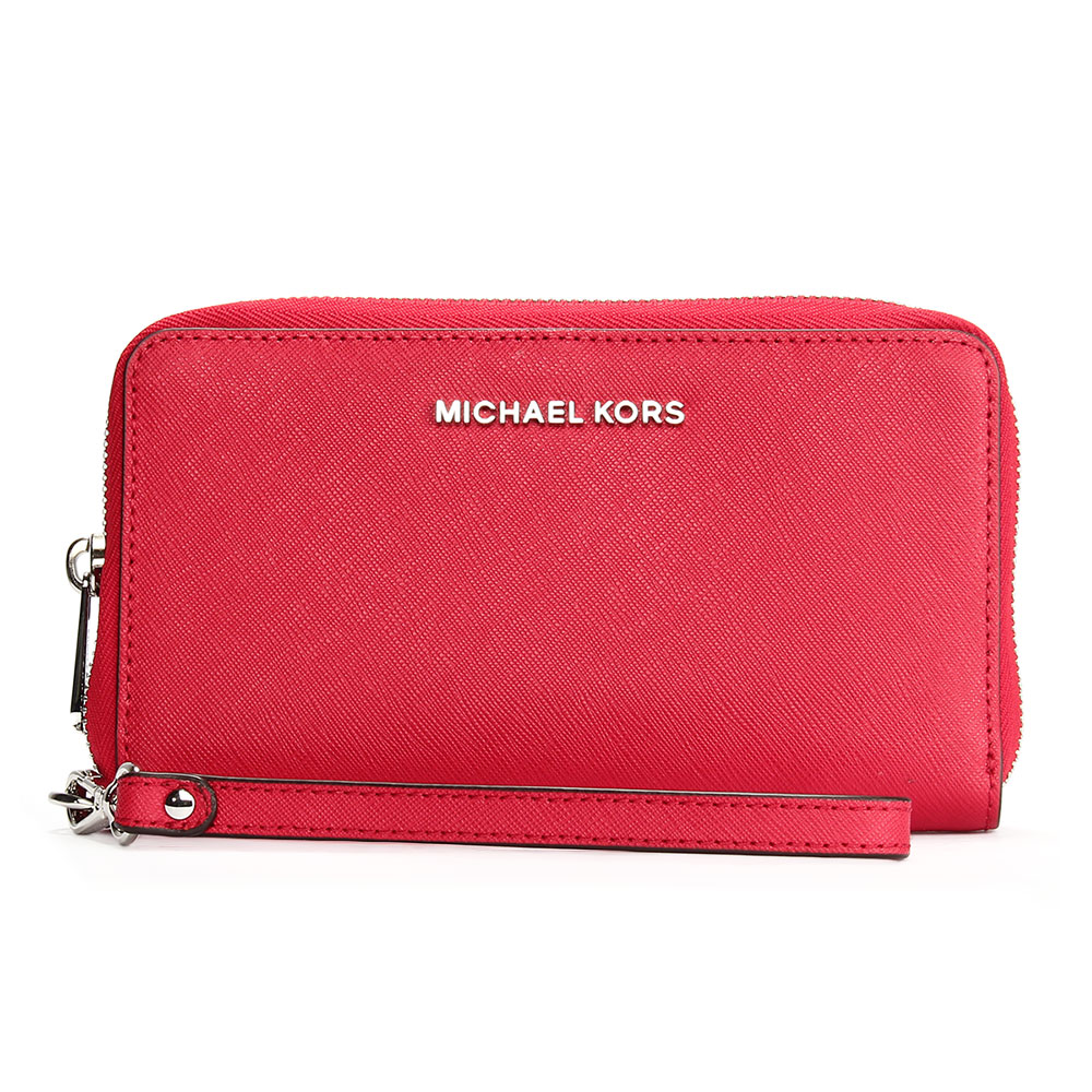 MICHAEL KORS Jet Set銀LOGO防刮皮革多卡手機包中夾-亮紅色