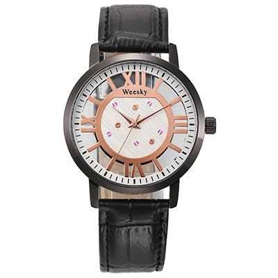 Watch-123 日光大道-歐風高雅羅馬字時標情侶手錶-白盤黑帶x男/40mm