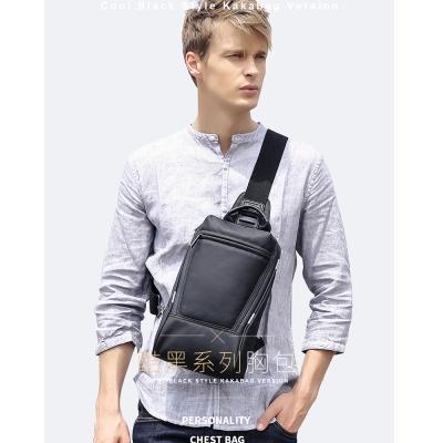 leaper kaka時尚休閒單肩包胸包 黑色