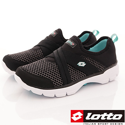 Lotto樂得-雙密度緩震慢跑鞋-FI880黑(女段)