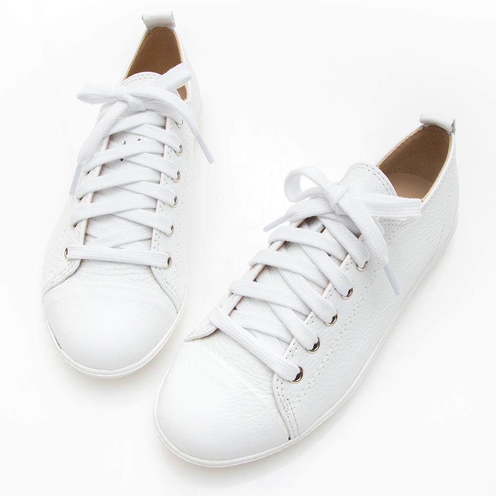 Camille's 韓國空運-正韓製-柔軟牛皮綁帶休閒平底鞋-白色