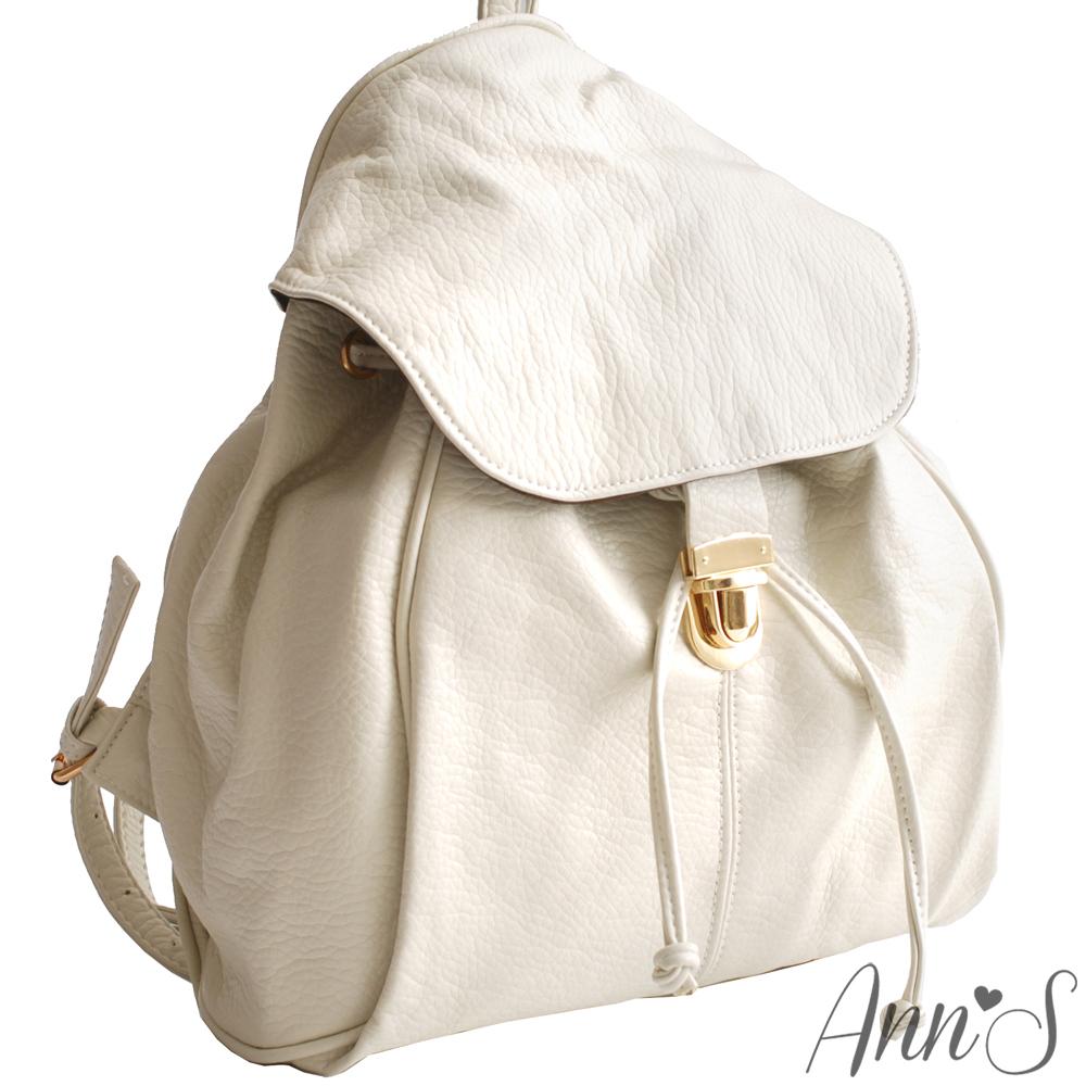 Ann'S質感素面翻蓋束口單釦後背包-米白