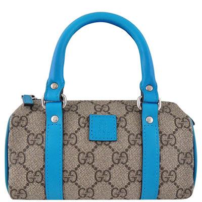 GUCCI-藍色雙G緹花PVC小型波士頓包
