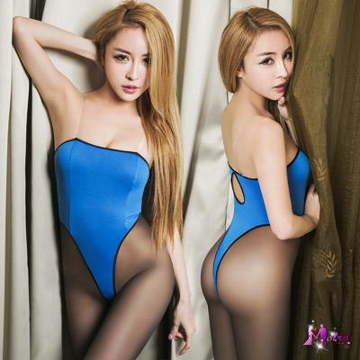 死庫水 平口美背高衩死庫水二件式連身衣(藍包黑邊F) Moira