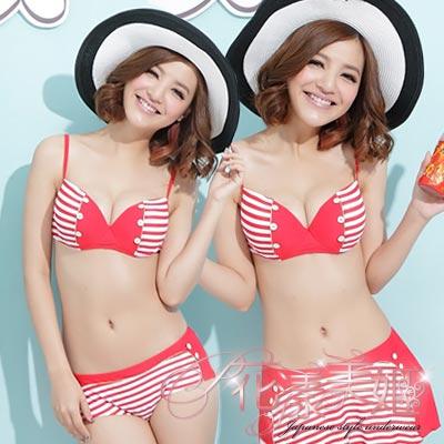 【花漾美姬】暢游率真~鈕扣線條三件式鋼圈泳衣(紅)