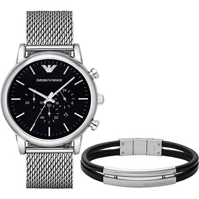 Emporio Armani  Classic 經典風範計時套錶-黑/46mm