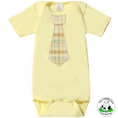 The Happy Cow 檸檬黃格紋款 紳士領帶短袖包屁衣
