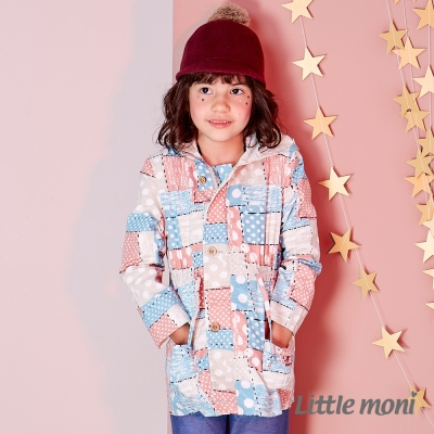 Little moni 時尚印花連帽風衣外套 (共2色)