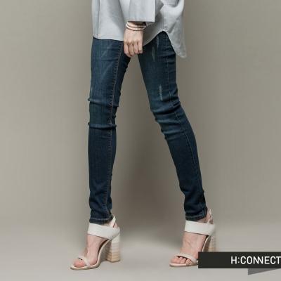H-CONNECT-韓國品牌-女裝-微破損小腳丹寧褲-深藍