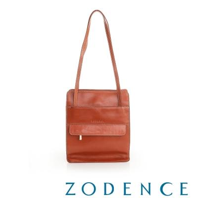 ZODENCE 義大利質鞣革系列信封外袋設計手提/側肩包 橘紅