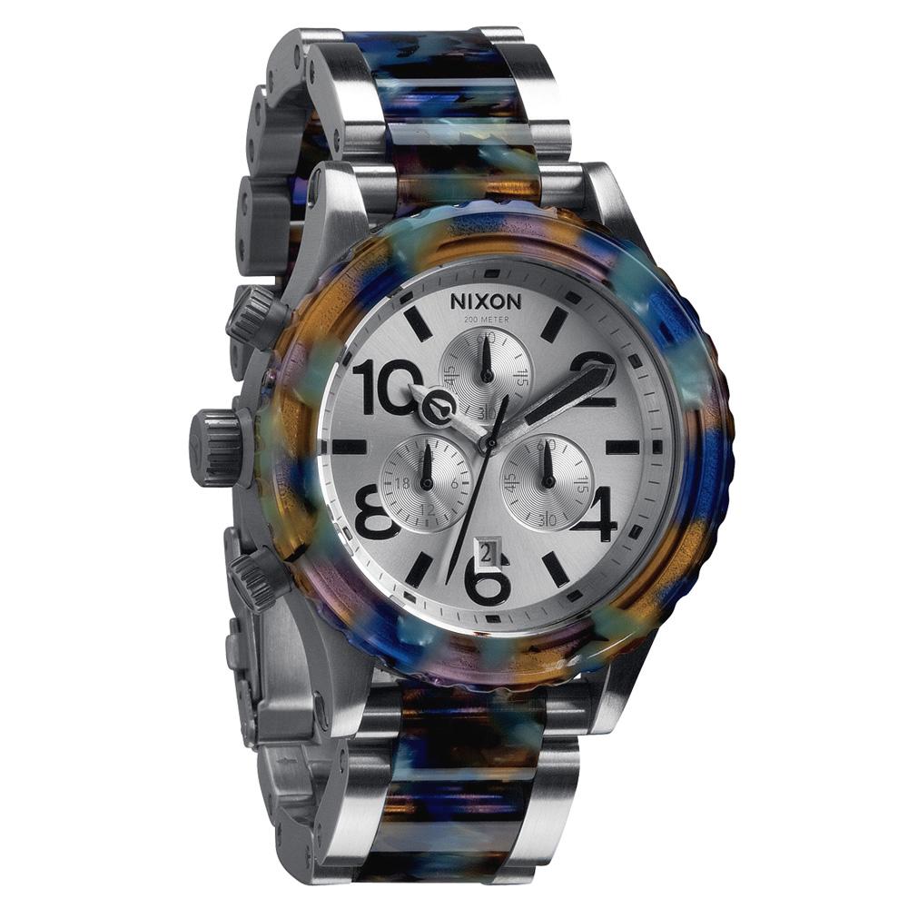NIXON  40-20 CHRONO 強眼魅力運動腕錶(鋼帶-藍彩玳瑁/42mm)