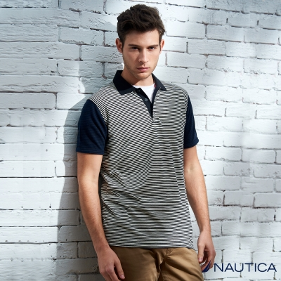 Nautica 復古時尚百搭條紋短袖POLO衫-灰藍