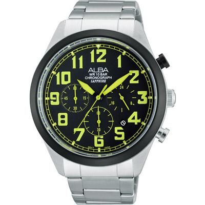 ALBA 街頭玩酷時尚三眼計時腕錶(AT3595X1)-黑x綠時標/ 44mm