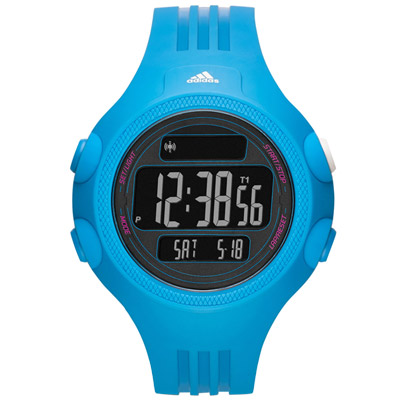 adidas 勁戰狙擊大面板電子腕錶-藍/53mm