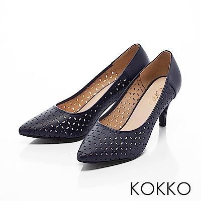 KOKKO -微光城市鏤空真皮尖頭高跟鞋-深海藍
