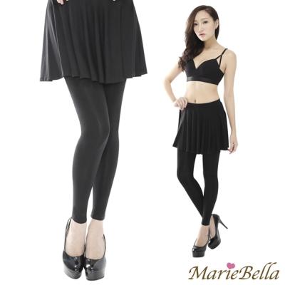 MarieBella 假兩件式傘狀裙 瑜珈 四季 內搭褲 (黑/F)