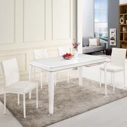 Bernice-米爾4.3尺簡約玻璃餐桌椅組(一桌四椅)-130x80x76cm