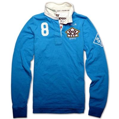 Superdry 極度乾燥 爆裂印花英式橄欖球襯衫-藍