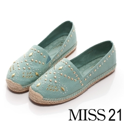 MISS 21 帆布鉚釘休閒平底鞋