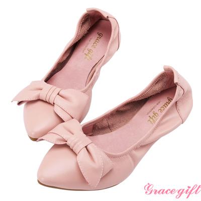 Grace gift-全真皮蝴蝶結摺疊娃娃鞋 粉