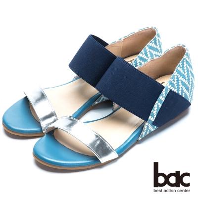 bac混搭時尚 一字帶異材質內增高涼鞋-藍