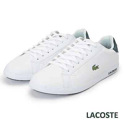 LACOSTE 男用真皮休閒鞋-白/綠