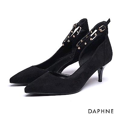 達芙妮DAPHNE 高跟鞋-踝帶水鑽珍珠絨布挖空高跟鞋-黑