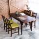 CiS自然行-雙邊延伸實木餐桌椅組一桌四椅74x166公分/焦糖+抹茶綠椅墊