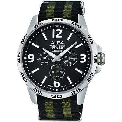 ALBA ACTIVE 活力運動日曆錶(AP6343X1)-黑x綠/44mm