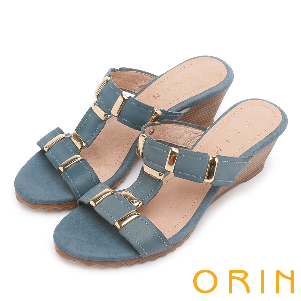 ORIN 簡約時尚潮流 牛皮中跟T字楔型涼拖鞋-藍色