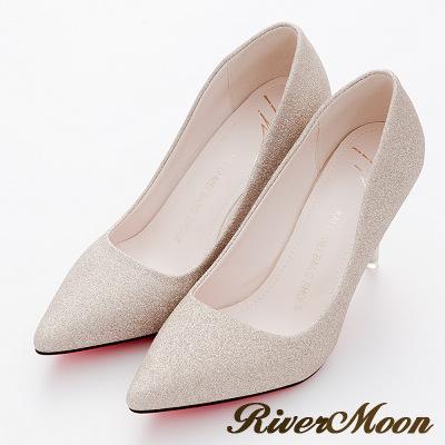 River-Moon高跟鞋-奢華亮蔥美型紅底尖頭高跟鞋-金系