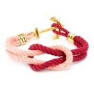 Kiel James Patrick 美國手工船錨水手繩結單圈手環 粉紅/紅編織