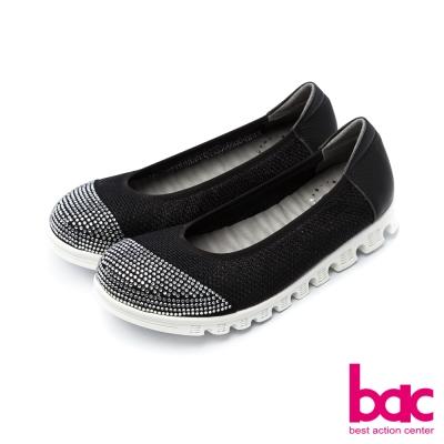 bac運動時尚鞋頭燙鑽拼接透氣網狀布料休閒鞋黑