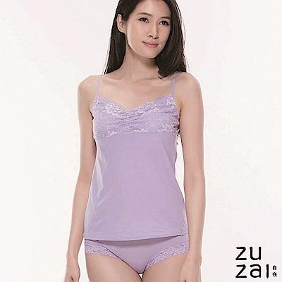 zuzai 自在絲感奇蹟居家蕾絲細肩帶背心-女-淺紫色