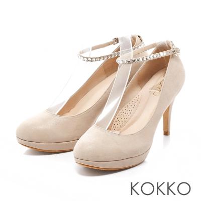 KOKKO-浪漫花園水鑽踝帶羊皮高跟鞋-復古灰