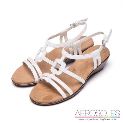 AEROSOLES-幾何十字鏤空金屬釦帶涼鞋-清新白色