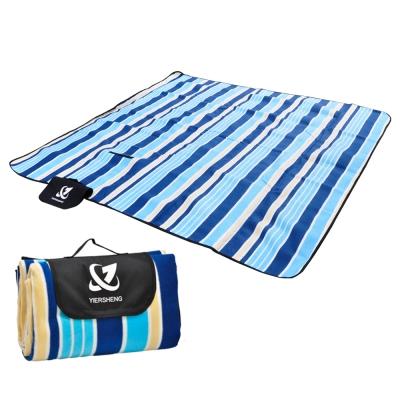 迪伯特DIBOTE多功防水植絨露營墊防水地墊布200 x 200cm-藍條紋