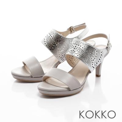 KOKKO-波西米亞花紋雕花真皮高跟涼鞋-銀灰