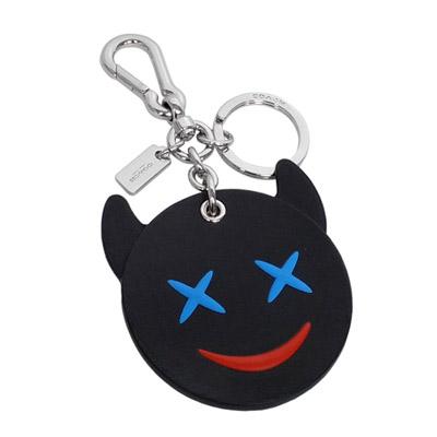 COACH-EMOJI咧嘴小惡魔造型全皮雙扣環鑰匙圈