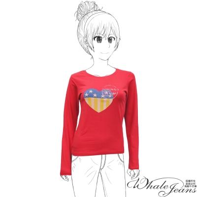 WHALE JEANS 美式街頭百搭雙色愛心印圖舒適圓領T恤(2色)