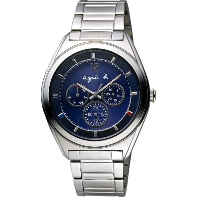 agnes b. Solar 驚豔巴黎太陽能日曆腕錶-藍/40mm
