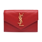 YSL MONOGRAM系列V字縫線魚子醬牛皮金屬LOGO暗釦零錢包(紅)