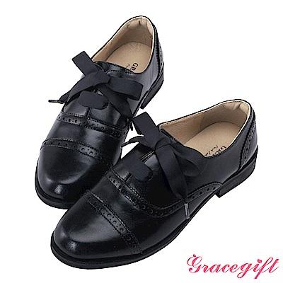 Grace gift-織帶雕花綁帶牛津鞋 黑
