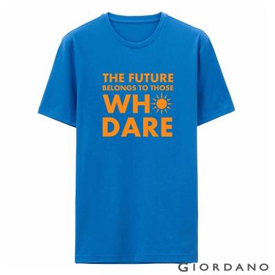 GIORDANO-男裝字母印花純棉修身短袖T恤-70-維多利亞藍色