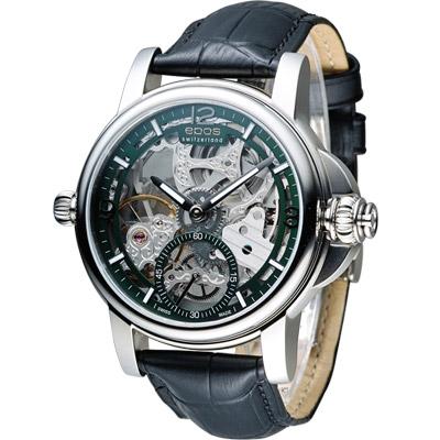 EPOS 愛寶時 巴賽爾系列三次元限量腕錶-綠x銀色/45mm
