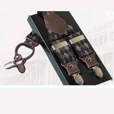 拉福   吊帶四夾紳士吊帶附紙盒(咖啡紋)