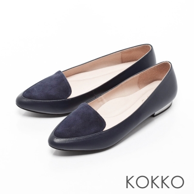 KOKKO-英倫紳士尖頭異材拼接金屬平底鞋-牡丹藍